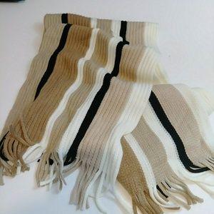 NWOT Echo Outerwear Knit Neck Scarf Beige Stripes